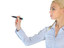 Woman writing something Stock Photography