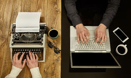 Woman writing on a typewriter and a man working on a laptop.Clos Stock Photo