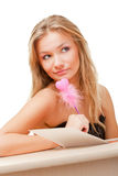 Woman writing valentine card Stock Images