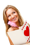 Woman writing valentine card Royalty Free Stock Image