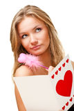 Woman writing valentine card Stock Photos