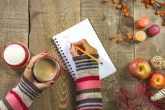 Woman writing in white notebook holding coffee in thermos on rus. Tic wooden table, autumn berries, apples and decor, top view Stock Photography
