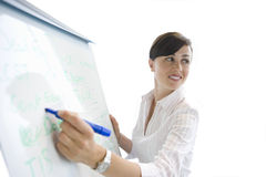 Woman writing on whiteboard, cut out Royalty Free Stock Images