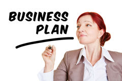 Woman writing business plan Stock Images