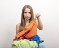 Woman wth laundry Stock Photography
