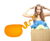 Woman wth laundry Stock Images