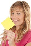 Woman wth note smile Stock Photo