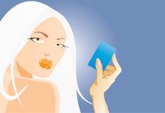 Woman wtih card Stock Photography