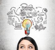 Woman& x27; ícones da cabeça e do negócio de s no muro de cimento Foto de Stock Royalty Free