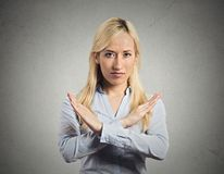 Woman with X gesture asking to cut it out Stock Images