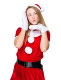 Woman with x mas costume with funny face expression Stock Photo