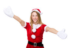 Woman with x mas costume with open arm for welcoming you Stock Photo