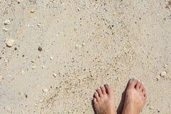 Woman& x27; piedi di s con il pedicure sulla spiaggia di sabbia bianca Fotografia Stock Libera da Diritti