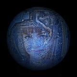 Woman& x27; s-framsida på bakgrunden av den elektroniska digitala planeten Arkivfoto