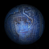 Woman& x27; s-Gesicht auf dem Hintergrund des elektronischen digitalen Planeten Stockfoto