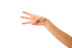 Woman's hand showing three fingers Stock Photography