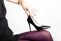 Woman& x27;s Legs Wearing Pantyhose and High Heels Royalty Free Stock Photo