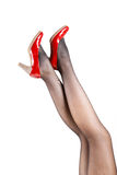 Woman& x27;s Legs Wearing Pantyhose and High Heels Royalty Free Stock Images