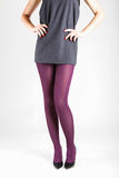 Woman& x27;s Legs Wearing Pantyhose and High Heels Stock Photo