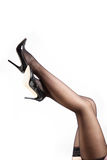 Woman& x27;s Legs Wearing Pantyhose and High Heels Stock Image