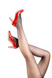 Woman& x27;s Legs Wearing Pantyhose and High Heels Royalty Free Stock Photos