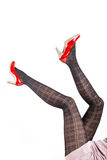 Woman& x27;s Legs Wearing Pantyhose and High Heels Stock Images