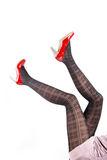 Woman& x27;s Legs Wearing Pantyhose and High Heels Royalty Free Stock Photography