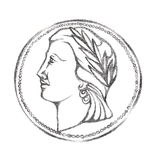 Woman's profile with wreath in a coin like circle. Pencil drawn illustration. Antique style Royalty Free Stock Photography