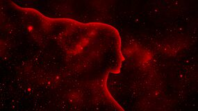 Free Woman&x27;s Shining Profile Silhouette On A Red Star Universe Background Royalty Free Stock Images - 216571729