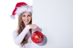 Woman with xmas ball Stock Photo