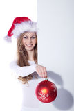 Woman with xmas ball Royalty Free Stock Photography