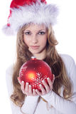 Woman with xmas ball Royalty Free Stock Photo
