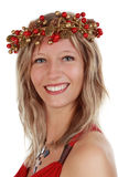 Woman with xmas crown Stock Photography