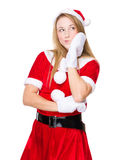 Woman with xmas dressing and think of idea Royalty Free Stock Photo