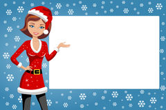 Woman Xmas Santa Presenting Billboard. Beautiful woman in xmas dress presenting whitespace against flakes snow background. Eps is available. You can find several Royalty Free Stock Photography