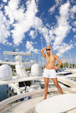 Woman on the yacht Stock Photography