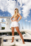 Woman on the yacht Stock Photos