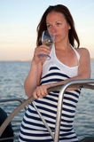 Woman on the yacht Royalty Free Stock Image