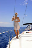 Woman on the yacht Stock Image