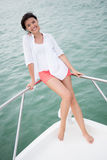 Woman in a yacht Royalty Free Stock Photo