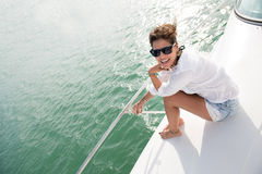 Woman in a yacht Stock Photography