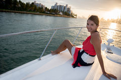 Woman in a yacht Stock Photos