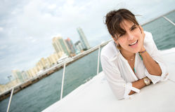 Woman on a yacht Royalty Free Stock Photo