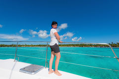 Woman on a yacht Royalty Free Stock Image