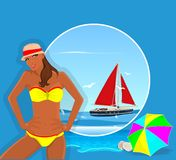 Woman and yacht on the ocean royalty free stock image