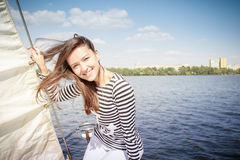 Woman yacht, river, sail Stock Images