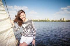 Woman yacht, river, sail Stock Photo