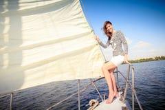 Woman yacht, river, sail Royalty Free Stock Photos