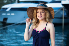 Woman&yachts-008 Royaltyfri Foto