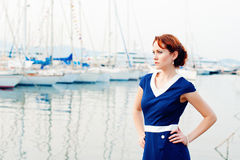 Woman and yachts Stock Image